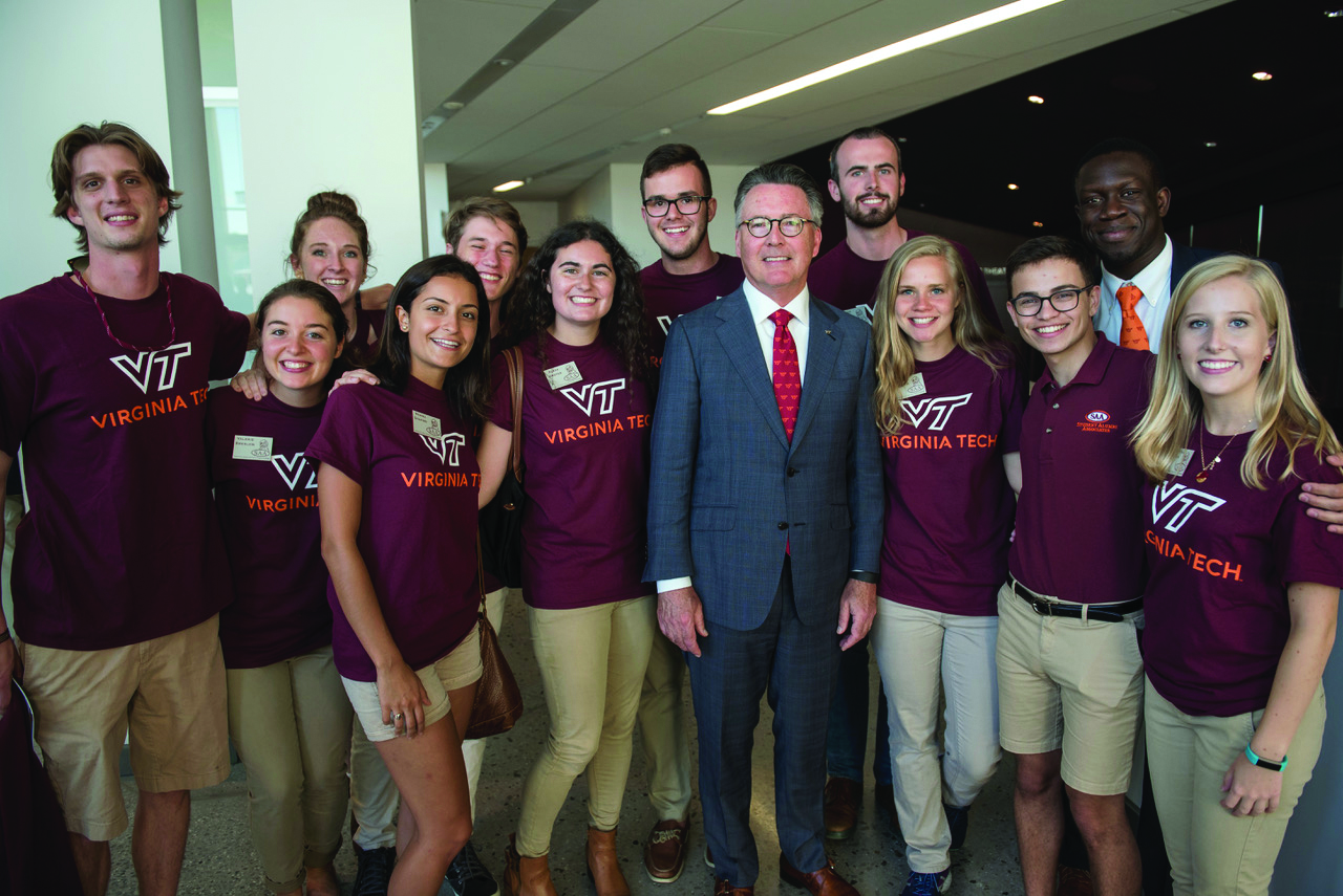 Student-focused: Virginia Tech President Tim Sands joins students following the State of the University address held in September.
