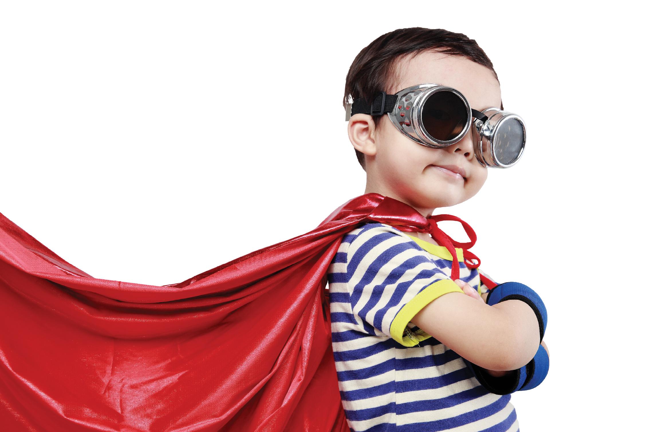 child in goggles and cape to illustrate story