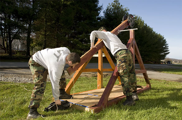 Virginia Tech cadets work with their trebuchet